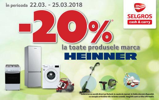 -20% la toate produsele marca HEINNER