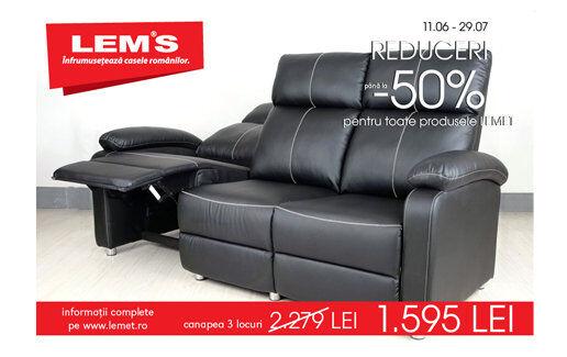 Canapea cu 3 locuri la 1.595 lei!