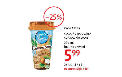 Cappuccino cu lapte de cocos la 5.99 lei