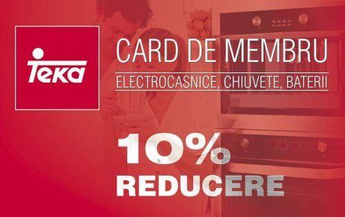 Cardul de fidelitate iti ofera 10% REDUCERE la orice produs electrocasnic, chiuveta sau baterie!