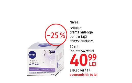 Crema anti-age Nivea la 40.99 lei