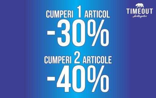 Cumperi un produs = 30% reducere, cumperi 2 produse = 40% reducere