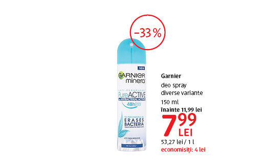 Deo Spray Garnier la 7.99 lei