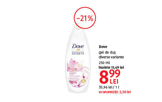 Gel de dus Dove la 8.99 lei