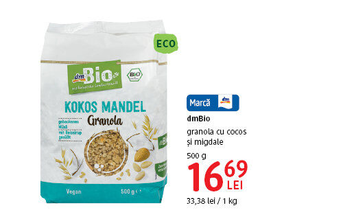 Granola cu cocos si migdale dmBio la 16.69 lei