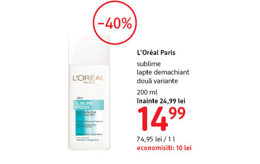Lapte demachiant L'Oreal Paris la 14.99 lei