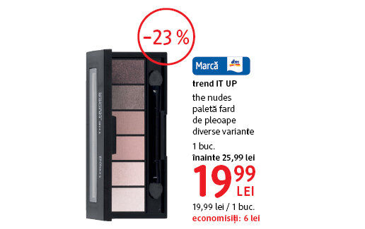Paleta fard de pleoape trend IT UP la 19.99 lei