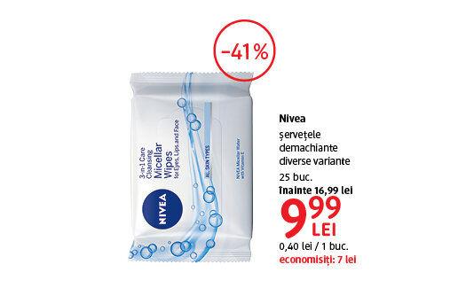 Servetele demachiante Nivea la 9.99 lei