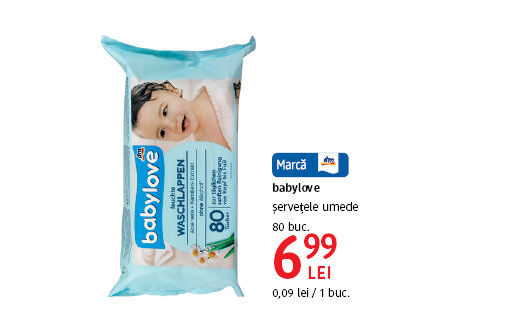 Servetele umede babylove la 6.99 lei