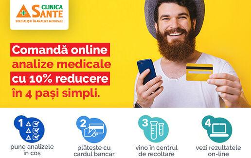 Comandă Online analizele tale medicale și beneficiezi de 10% reducere!