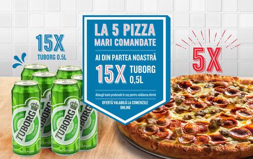 La 5 pizza mari ai 15 doze de bere Tuborg