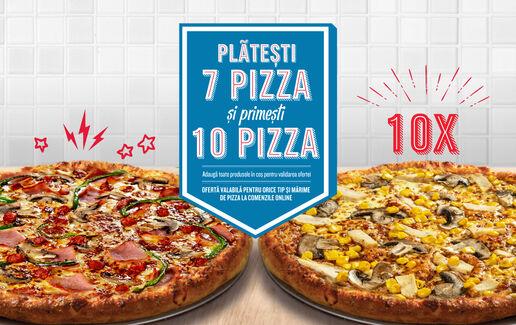 Platești 7 pizza și primești 10
